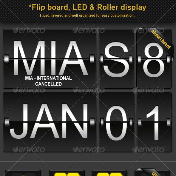 Flip board, LED and Roller display