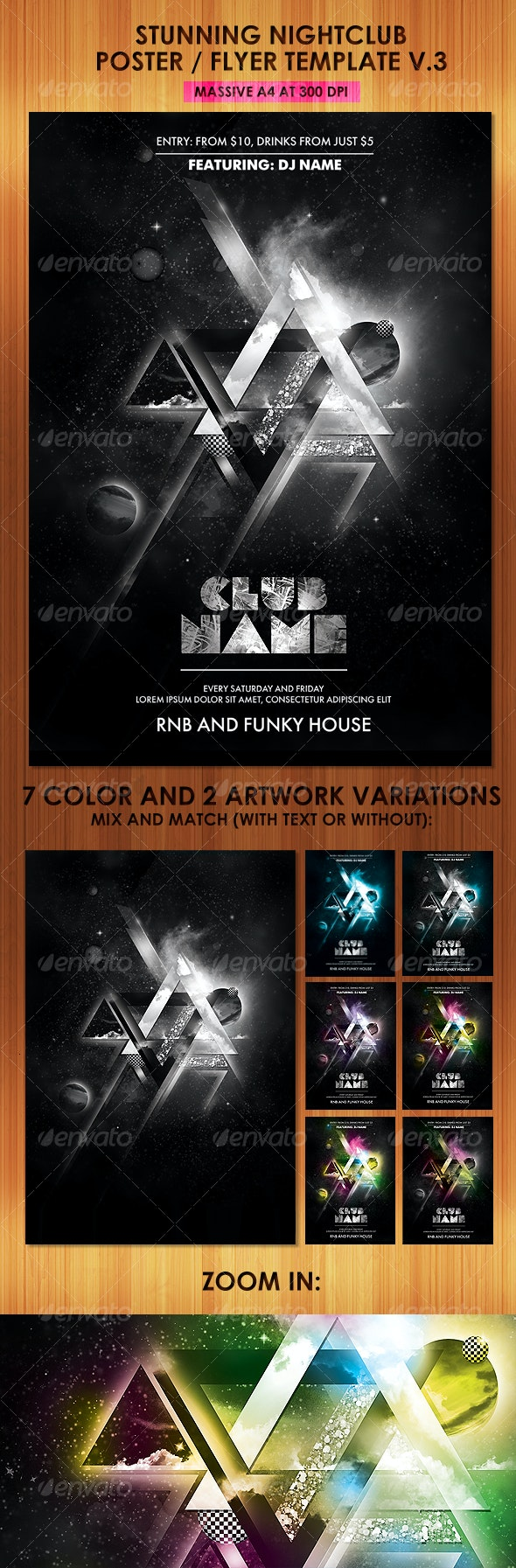 Stunning Nightclub Poster Flyer Template v3 - Clubs & Parties Events