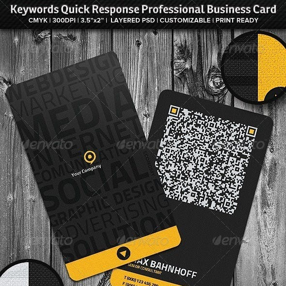 Keywords Quick Response Professional Business Card