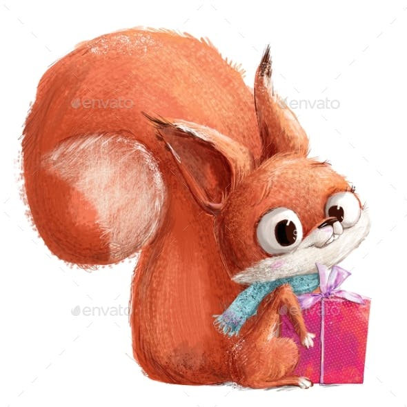 Cute Little Red Cartoon Squirrel with Present Box