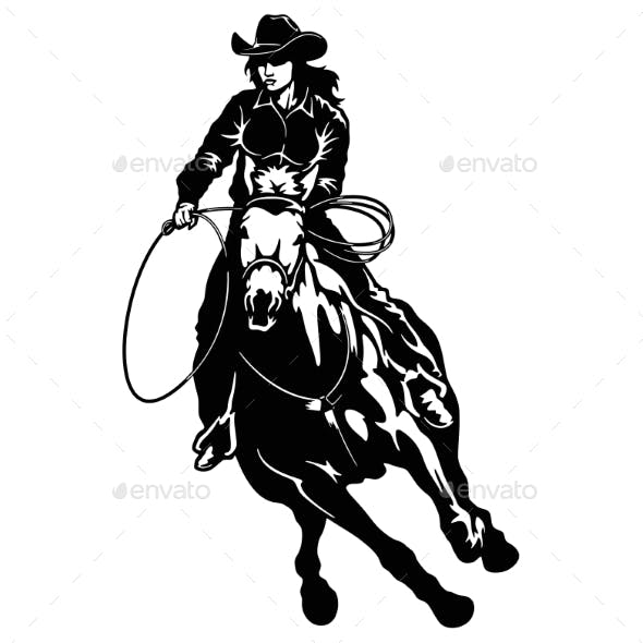 Rodeo Cowgirl Riding a Horse