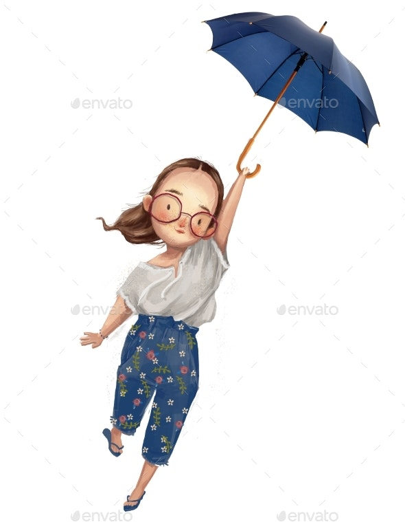 Cute Little Cartoon Watercolor Girl with Umbrella - People Illustrations