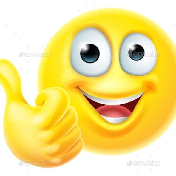 Thumbs Up Emoticon Emoji Face Cartoon Icon