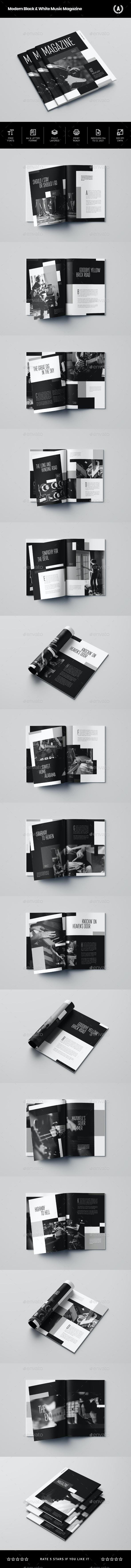 Modern Black & White Music Magazine - Magazines Print Templates