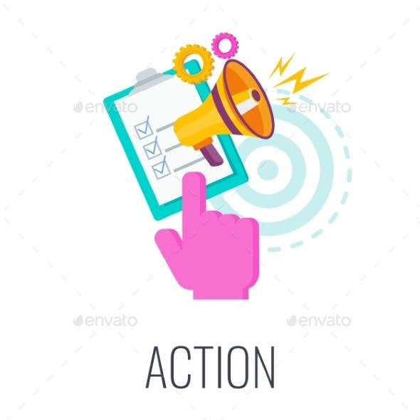 Action Icon. Call To Action, CTA. Flat Vector