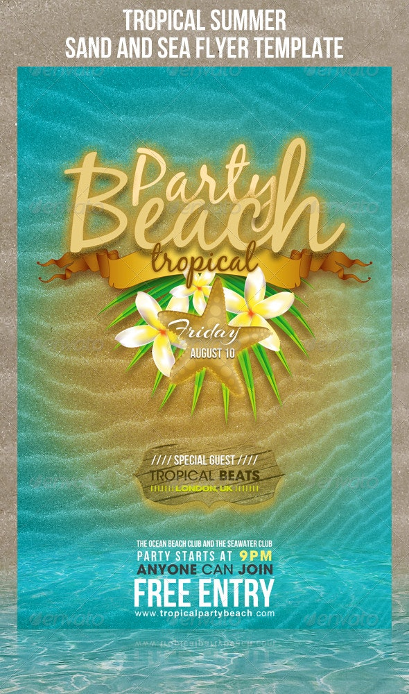 Tropical summer sand and sea flyer template - Clubs & Parties Events
