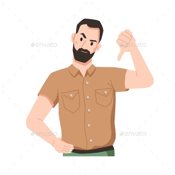 Annoyed Bearded Man Showing Disapproval Thumb Down