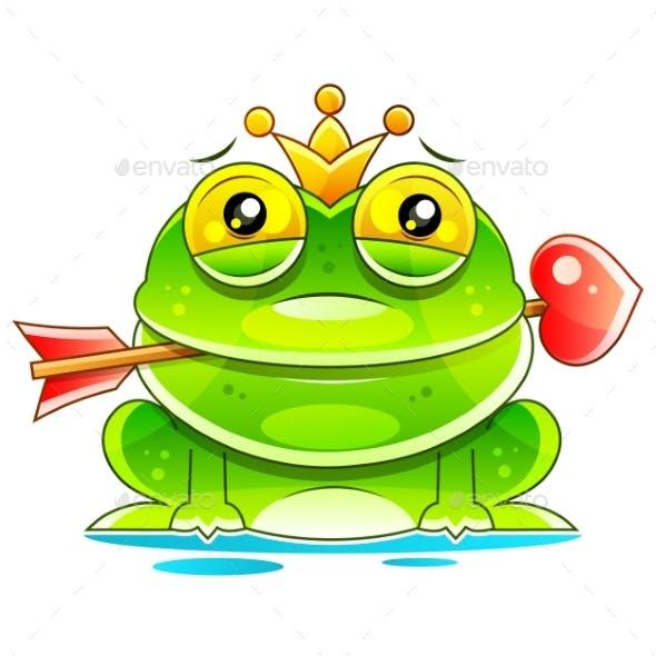 Cute Princess Frog Cartoon Mascot Character With