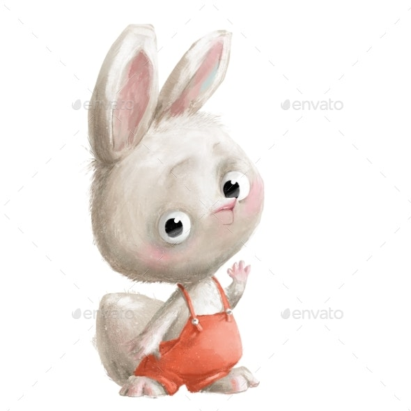 Cute Little White Cartoon Hare with Pants - Animals Illustrations