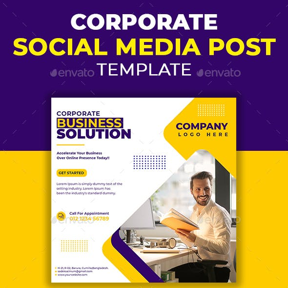 Corporate Business Solution Social Media Post Template