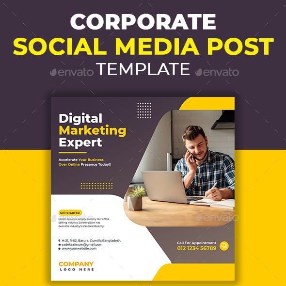 Digital Marketing Corporates Social Media Post Template