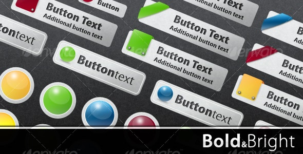 Bold & Bright Web Buttons - Buttons Web Elements