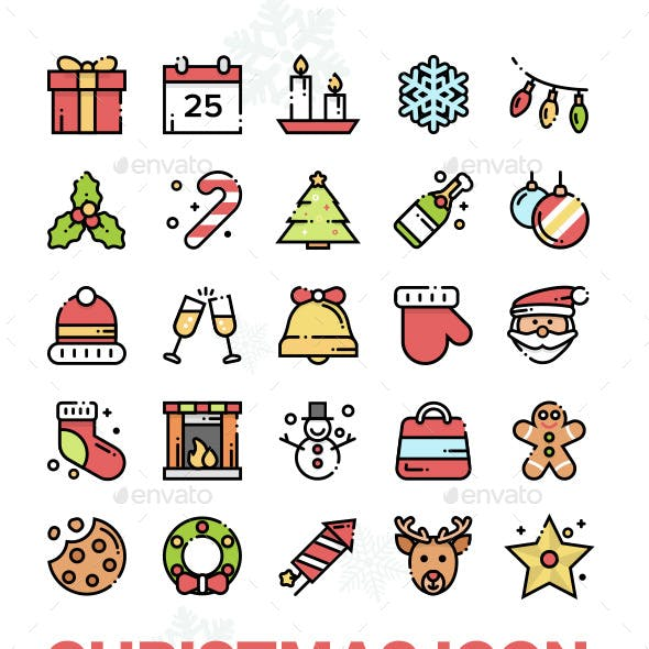 25 Christmas Outline Icon