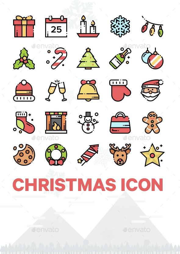 25 Christmas Outline Icon - Seasonal Icons