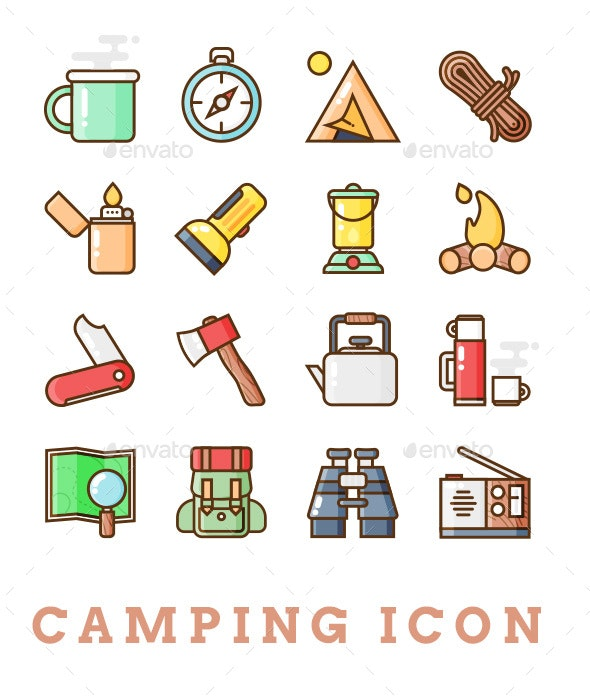 16 Camping Icon - Man-made objects Objects