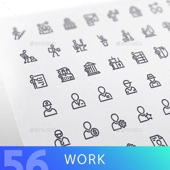 Work Line Icons Set