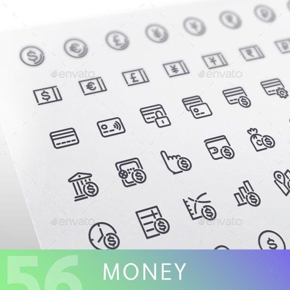 Money Line Icons Set