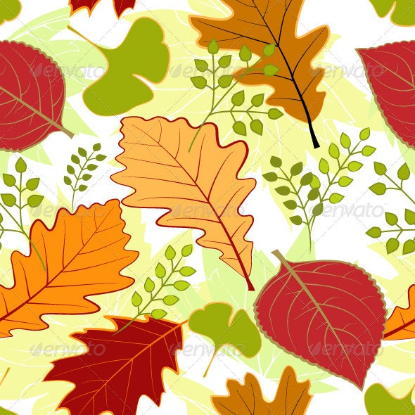 Autumn leaves seamless pattern - Patterns Decorative