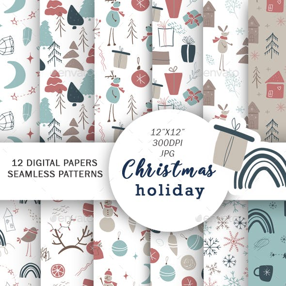 Christmas digital paper, Holiday Backgrounds