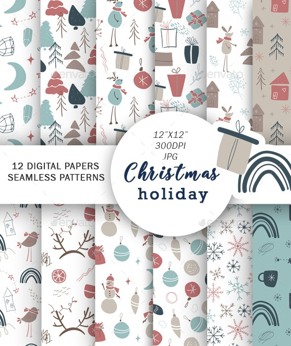 Christmas digital paper, Holiday Backgrounds - Patterns Backgrounds