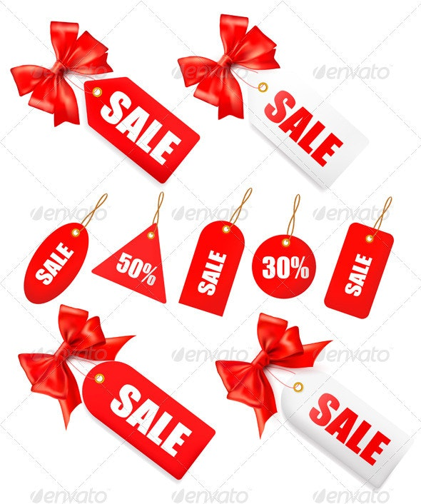 Big set of sales tags with red gift bows - Decorative Symbols Decorative