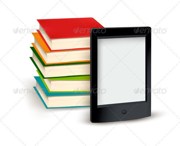 Stack of books and e-book. Vector illustration. - Concepts Business