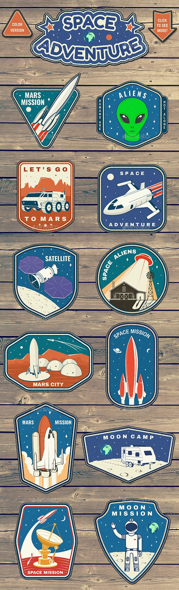 Space Adventure Patches - Badges & Stickers Web Elements