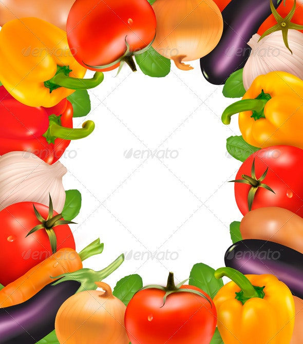 Frame made of vegetables. Vector illustration.  - Food Objects