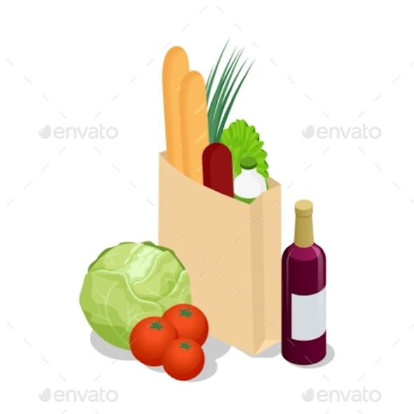 Isometric Different Food in Paper Bag on Wooden