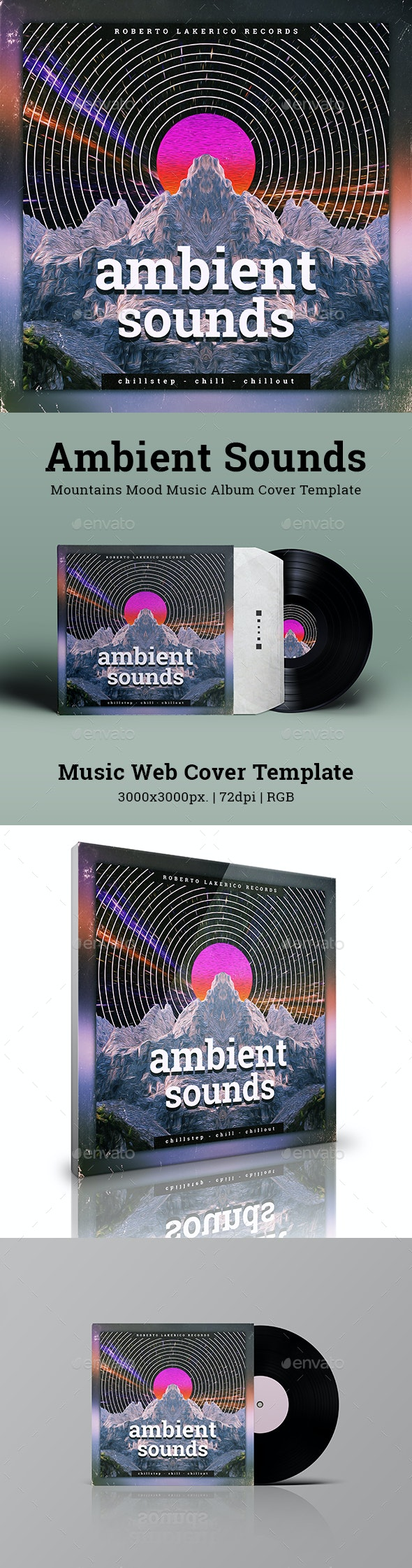 Ambient Sounds Mountains Mood Music Album Cover Template - Miscellaneous Social Media