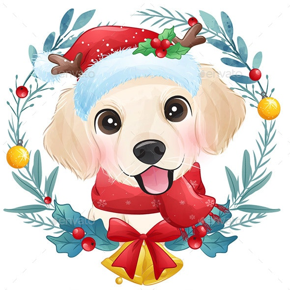 Merry Christmas Santa Claus Cute Dog Happy New Year Holiday - Animals Characters