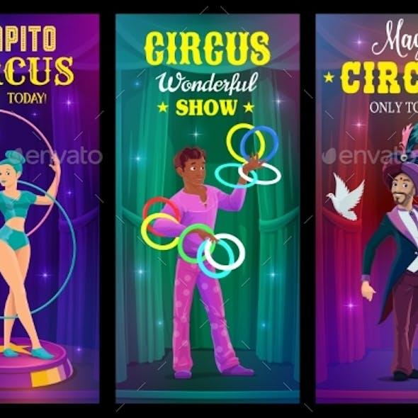 Circus Magician, Juggler and Acrobat Vector Banner