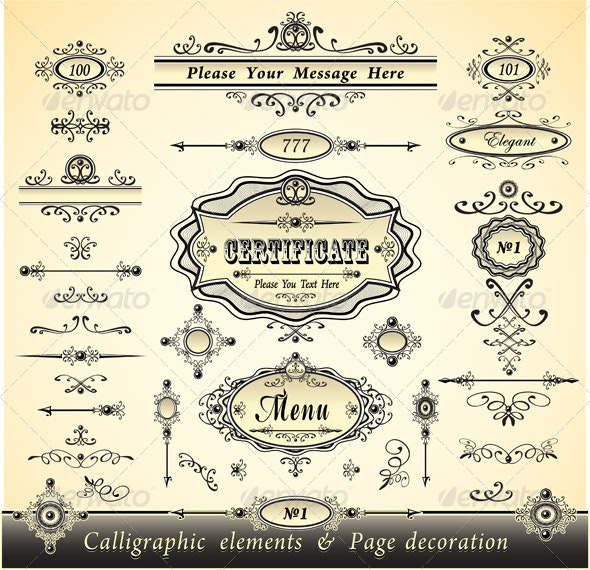 Set Calligraphy and Pages Decoration -Gold Collection - Decorative Vectors