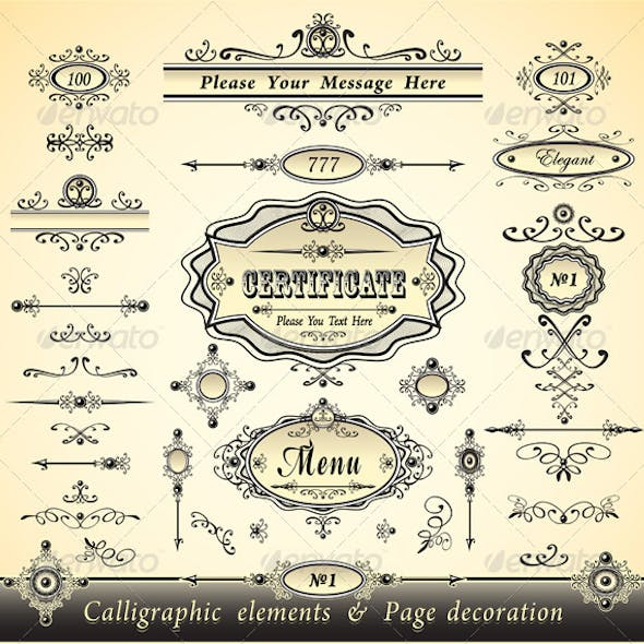 Set Calligraphy and Pages Decoration -Gold Collection