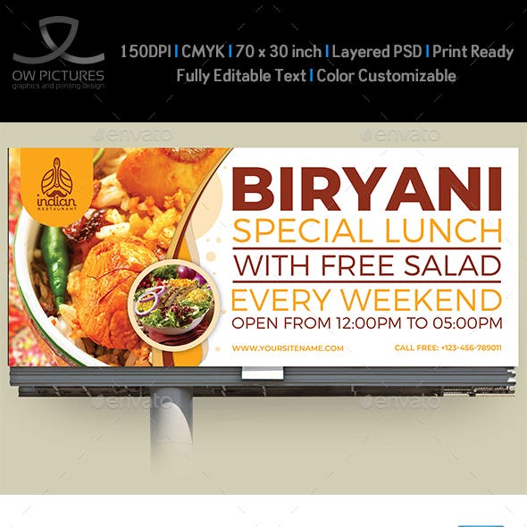 Biryani Restaurant Billboard Template