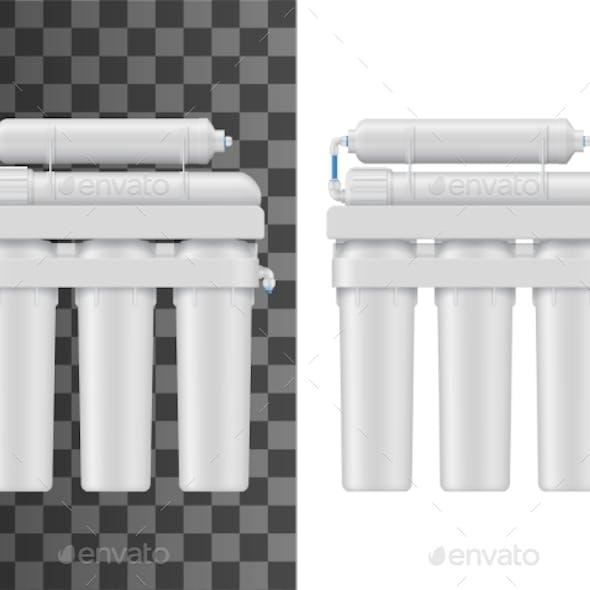 Water Filter with Membrane Cartridge Vector Mockup