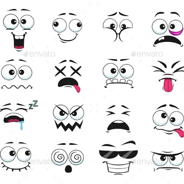 Cartoon Face Expressions Vector Icons Isolated Set
