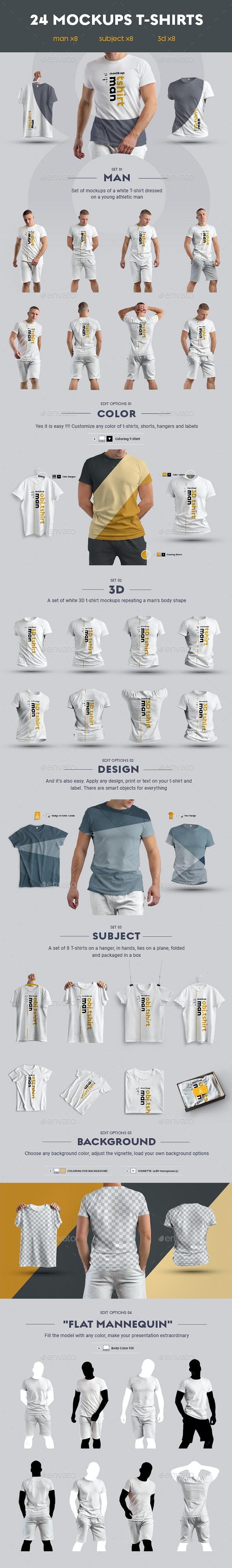 24 Stylish  MockUps Man T-Shirt - Man/3D/obj. - T-shirts Apparel