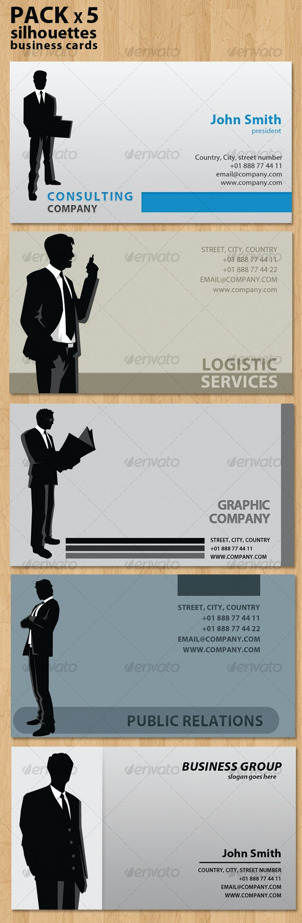 Silhouettes Business Cards very flexible - Business Cards Print Templates
