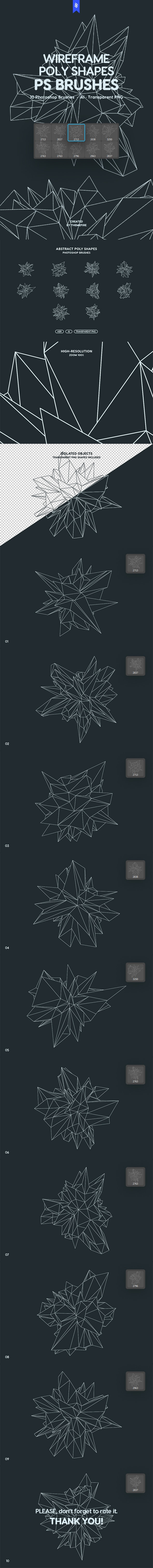 Wireframe Polygonal Shapes Photoshop Brushes - Abstract Brushes