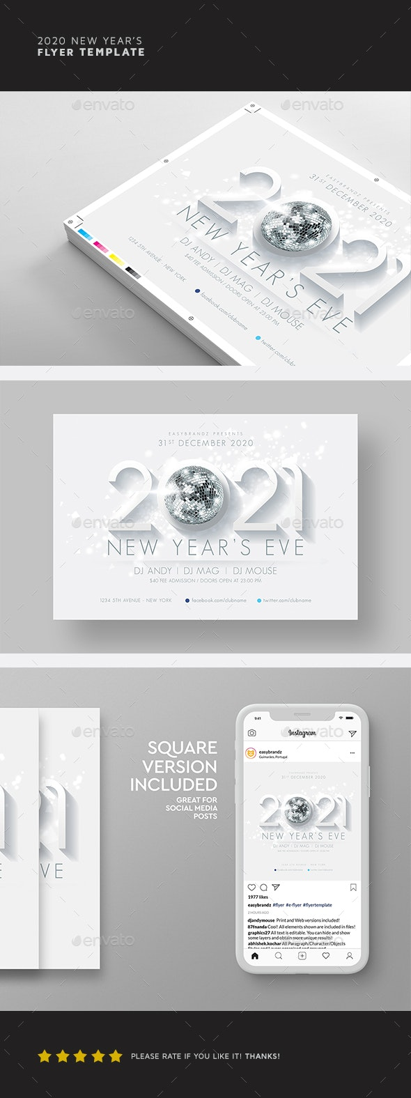 2021 New Year's Flyer Template - Holidays Events