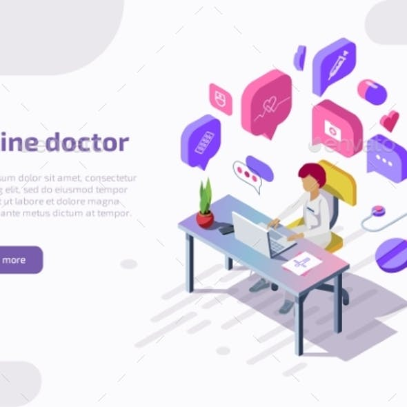 Isometric Online Doctor Remotely Providing