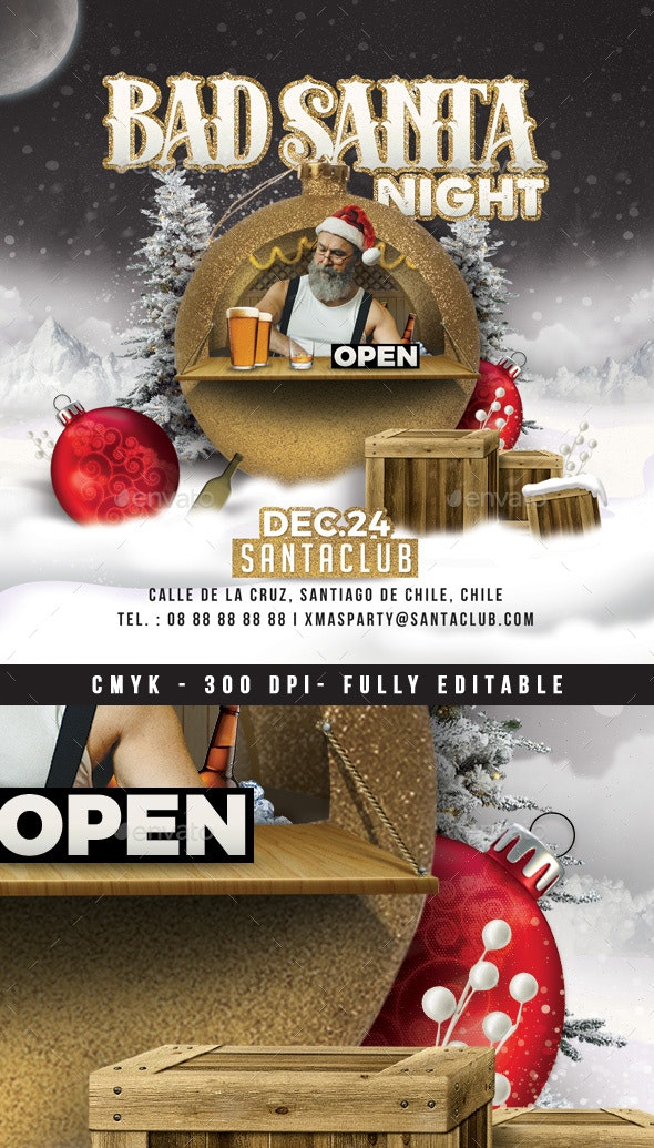 Bad Santa Christmas Party Flyer - Clubs & Parties Events