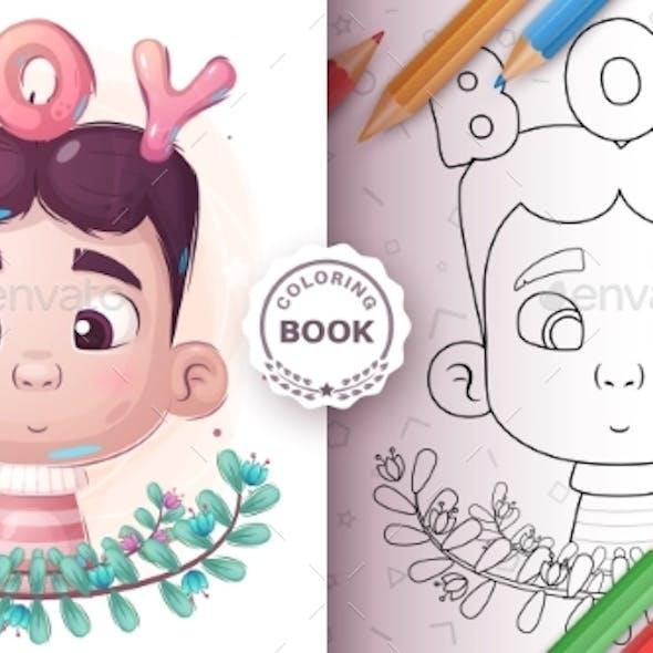 Cartoon Boy - Coloring Page