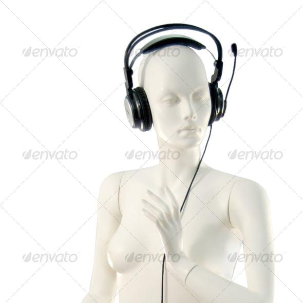 Mannequin with Headphones