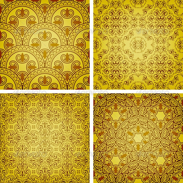 4 Seamless Golden Patterns - Patterns Decorative
