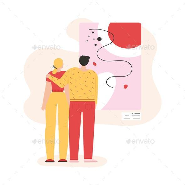 Man and Woman Hugging and Looking at Abstract