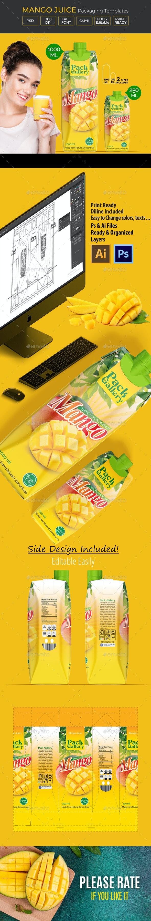 Mango Juice Template Packaging Design - Packaging Print Templates
