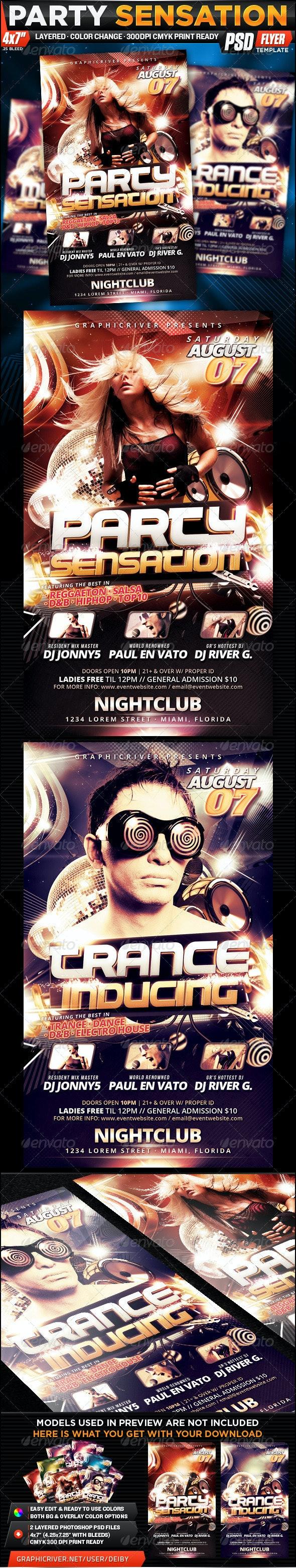 Party Sensation Flyer Template - Clubs & Parties Events