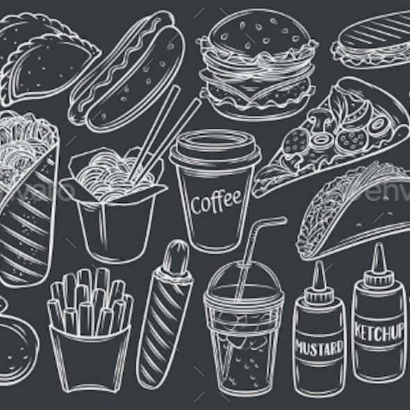 Street Food Icons on Black Chalkboard Vector